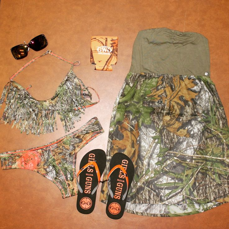Show off your country girl side all Summer long in this GWG camo outfit!  Styled together is the Mossy Oak sundress, fringe bikini with cheeky bottoms, blaze orange koozie, flip flops and sunglasses!