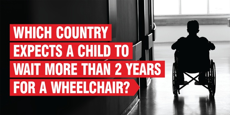 Which country expects a child to wait more than 2 years for a wheelchair?