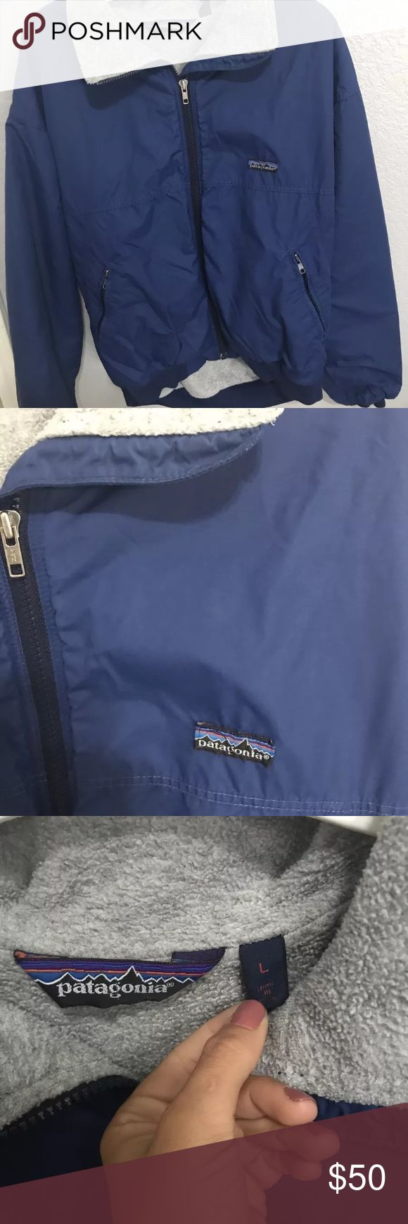 Navy Blue men's patagonia ski jacket Men's patagonia ski jackets  Outside shell is waterproof and navy blue color  Inside is fleece and is light grey Patagonia Jackets & Coats
