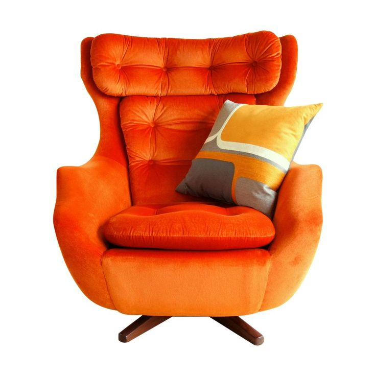 Parker Knoll Orange Velvet Swivel Armchair and Afromisia Teak Base