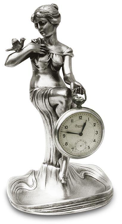 Portaorologio donna seduta cm 19 (Peltro / Britannia Metal) - collezione: Donna. Cosi Tabellini.