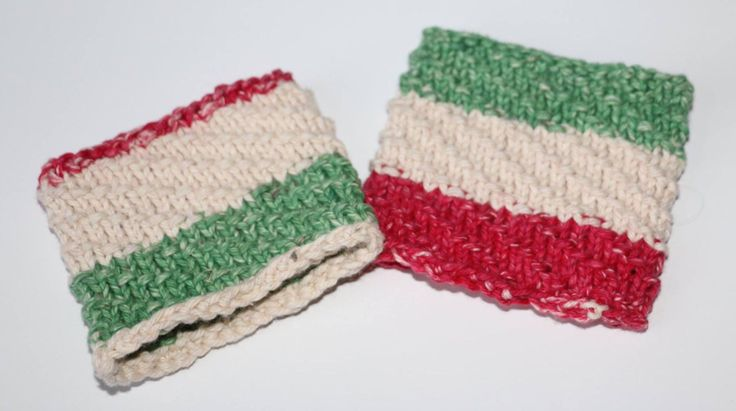 Striped coffee sleeves (set of 2) by MaureyKnits on Etsy https://www.etsy.com/ca/listing/501872901/striped-coffee-sleeves-set-of-2