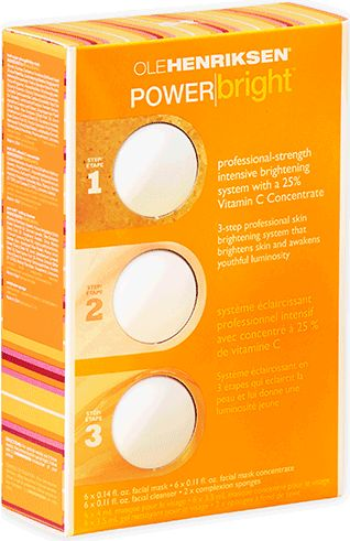 OLEHENRIKSEN POWERbright. Professional-strength intensive brightening system with a 25% Vitamin C Concentrate.