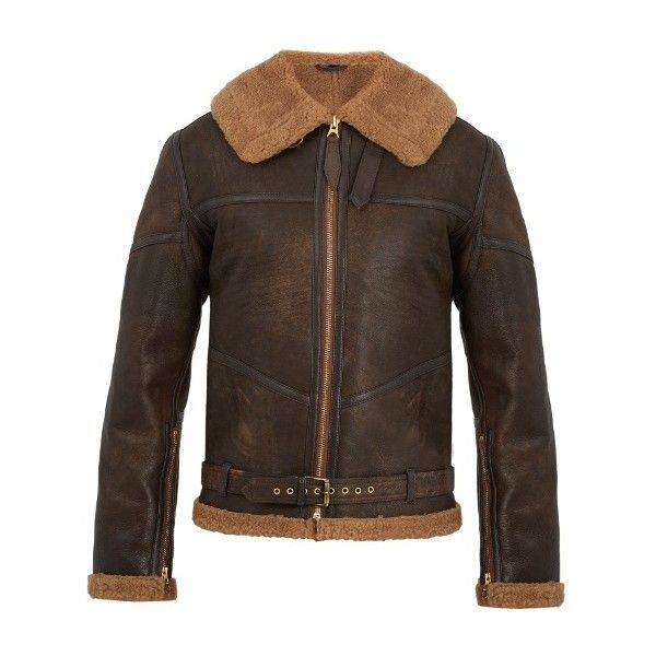 Schott R.A.F contrast-panel leather jacket ($714) ❤ liked on Polyvore featuring men's fashion, men's clothing, men's outerwear, men's jackets, brown, mens leather jackets, mens military jacket, mens zip jacket, mens army jacket and mens brown leather jacket