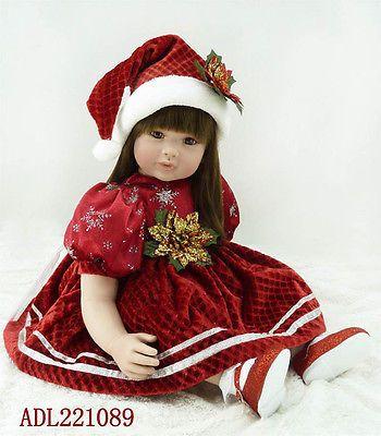 "57CM Realistic 22"" Vinyl Reborn Baby Doll Long Hair Toddler Christmas Presents"