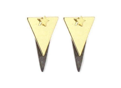 Til disse øreringe er der brugt følgende materialer:  1 par ørestik, stjerne 4 mm i forgyldt sterlingsølv 2 stk. trekant med hul, blank forgyldt messing 2 stk. børstet spids dråbe 22×8 mm, sort messing