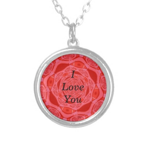 I Love You Red Flower Art Necklace