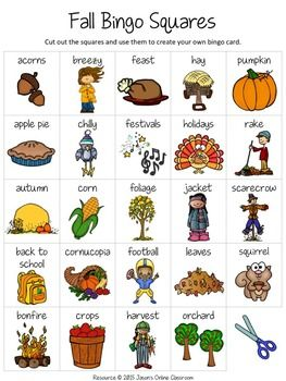 """Fall Free Create Your Own Luck Bingo - This resource includes 24 fall related images and vocabulary words and a blank """"MY BINGO CARD"""" template that students can use to create their own unique fall themed bingo cards.  DOWNLOAD. PRINT. DONE!About Jason's Online ClassroomSign up for our EMAIL NEWSLETTER to receive important news, product announcements, and special deals and promotions."""