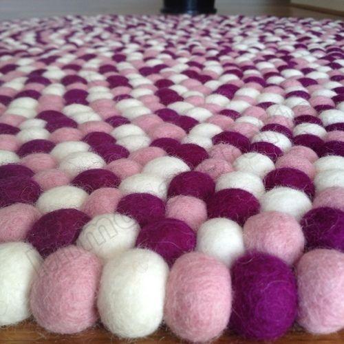 Lavender Original Mimosa Design 100% Wool Felt Ball Rugs Kids Nursery Mat Carpet