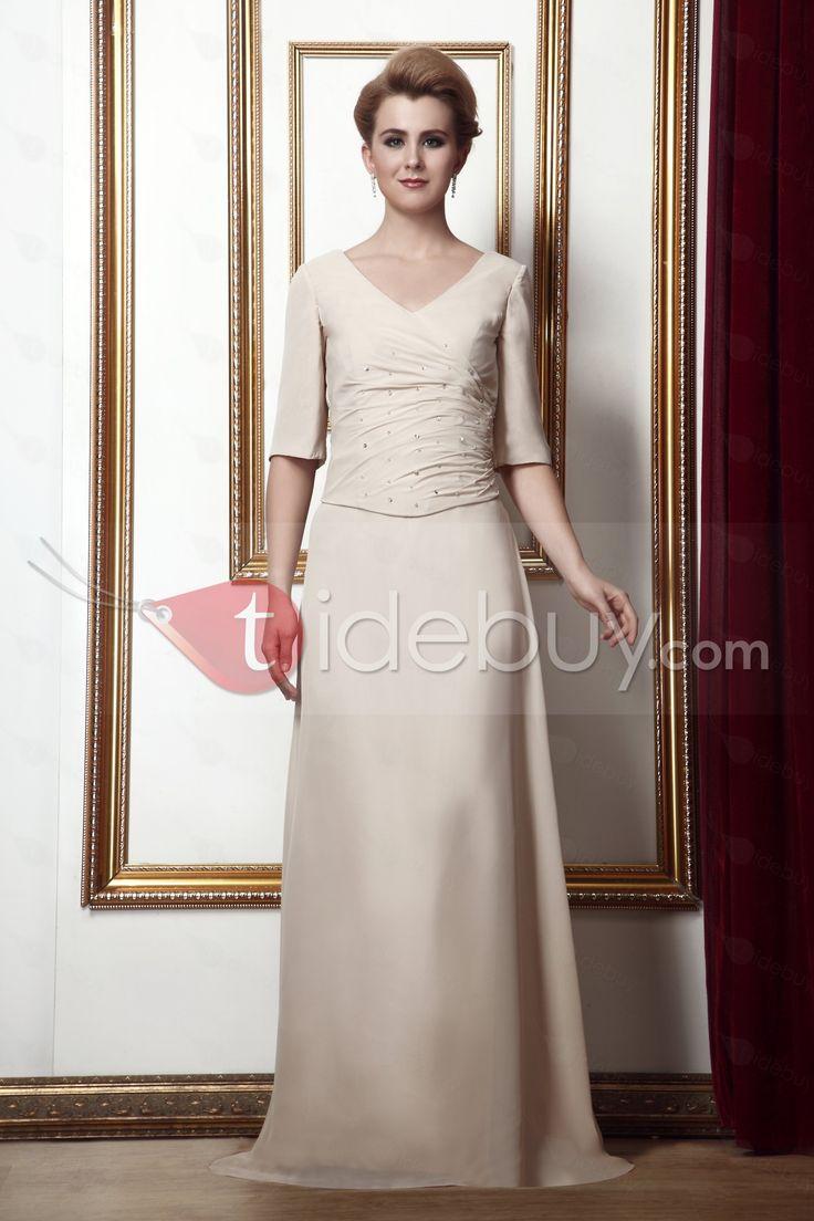 簡潔なプリーツA-ラインV-ネック床までの長さ花嫁さん母ドレス
