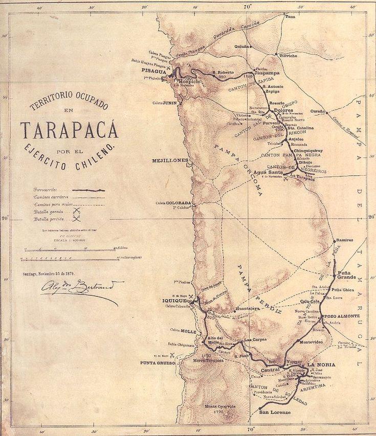 Mapa del departamento peruano de Tarapacá y sus líneas férreas, durante la ocupación chilena. Pisagua está en el extremo norte del mapa.