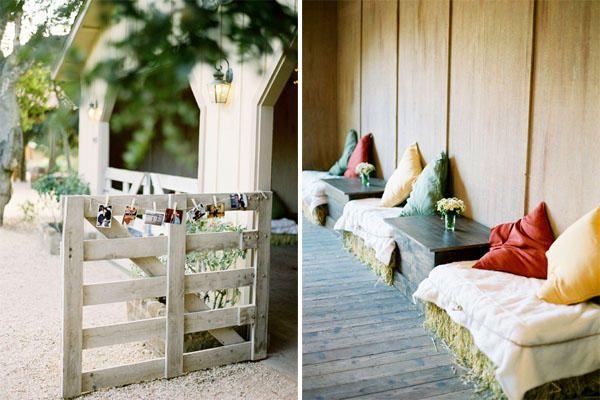 bale of hay barn wedding