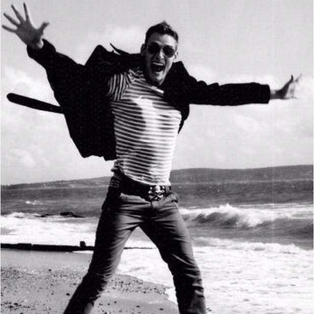 Happy on an English beach