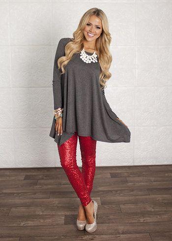 (Pre-Sale) Nothin But Sequins Pants Red - Modern Vintage Boutique