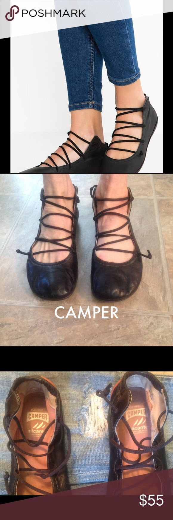 CAMPER ballet comfy black leather flats CAMPER black leather flats. Bought in the CAMPER in Barcelona las year. Most comfortable shoes ever. Size 7 M   Please ask questions.  You will not be disappointed with this purchase ❣️❣️ Camper Shoes Flats & Loafers