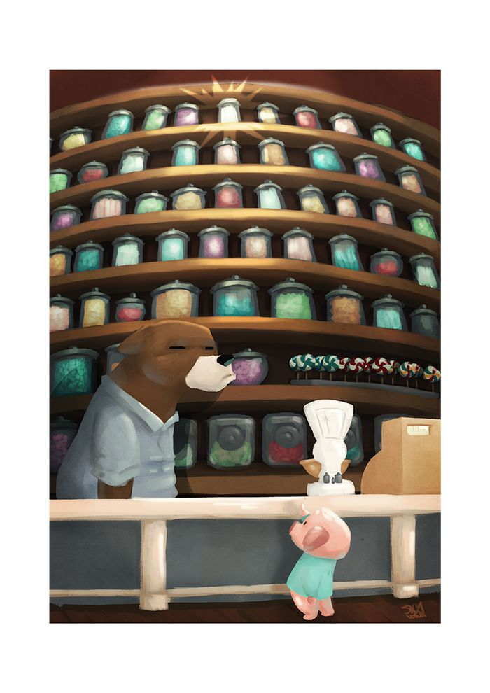 In the candy store... Kids Illustration by S.K.Y. van der Wel #candy #illustration #pigs #kids #store #bear