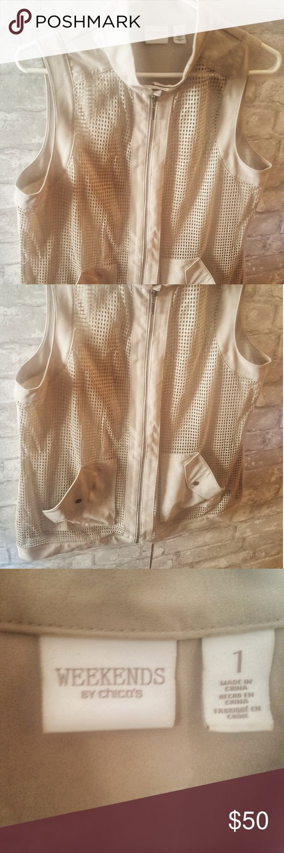 ⏰⏰⏰Chicos Weekend Mesh Metallic Vest Metallic Weave Mesh vest. Very light and comfortable.  Great with a white tee and jeans. Chico's Jackets & Coats Vests