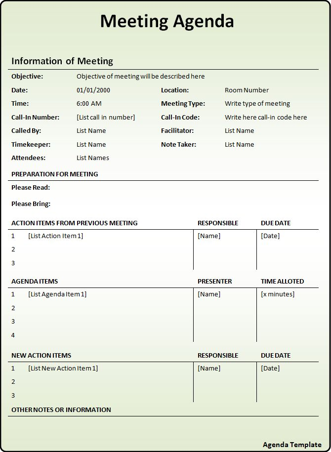 Agenda Form Blank Meeting Agenda Form Template Download