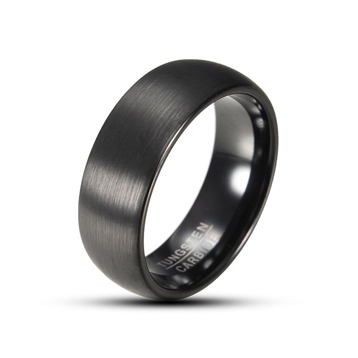 Sale 21% (22.99$) - 8mm Tungsten Black High Polished Men Ring Jewelry