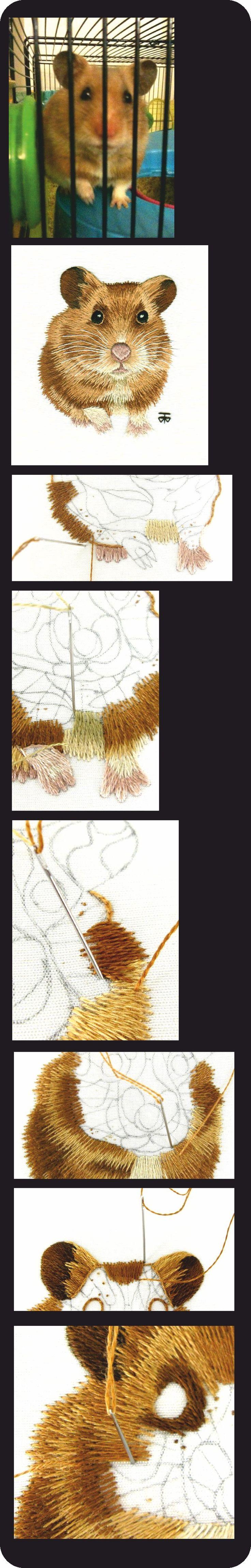 Hamster, peinture à l'aiguille http://www.berlinembroidery.com/hamsterworkinprogress.htm