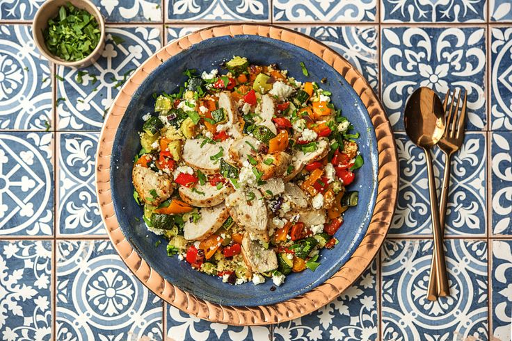Greek Lemon Chicken with Herby Couscous and Roasted Veggies with Feta