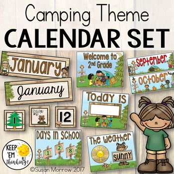 """This Camping Theme Calendar Set has everything you need for a Camping or Forest Theme Classroom Calendar board. Many of the items are editable! Check out the preview to see what is included. Take your calendar board to new heights with all the little extras included in this set: • 12 month cards 10"""" by 3.5"""" in both primary and cursive fonts - editable! • Days of the week cards 2 sizes and styles - 8"""" by 2.5"""", 1.5"""" by 3.5"""" - editable! • Year"""