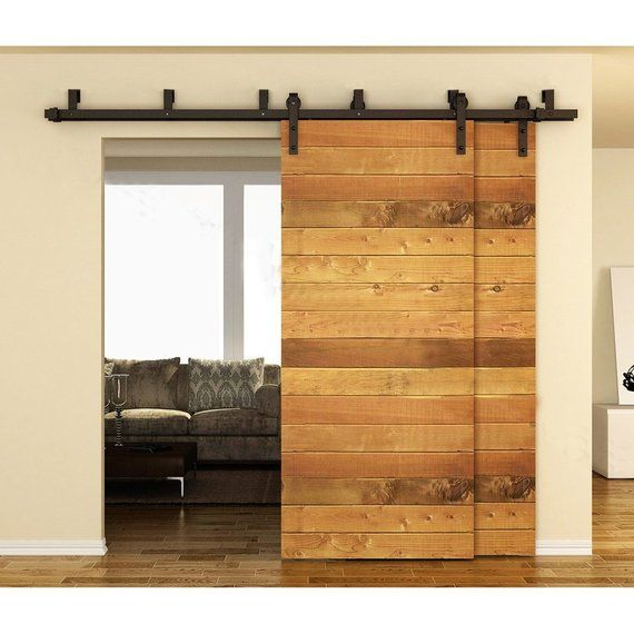 Double Track Bypass Low Profile Barn Door Hardware Kit With 6ft Track Powdercoated Black In 2020 Bypass Barn Door Double Barn Doors Barn Style Doors