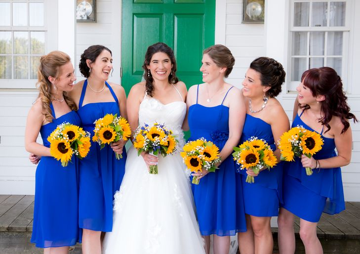 Sunflowers with Baby's Breath - so beautiful with Royal Blue!!