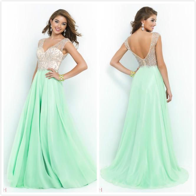 Cheap Prom Dresses - Discount Blush Sexy 2015 Long Prom Dresses a Line Online with $120.42/Piece | DHgate.com