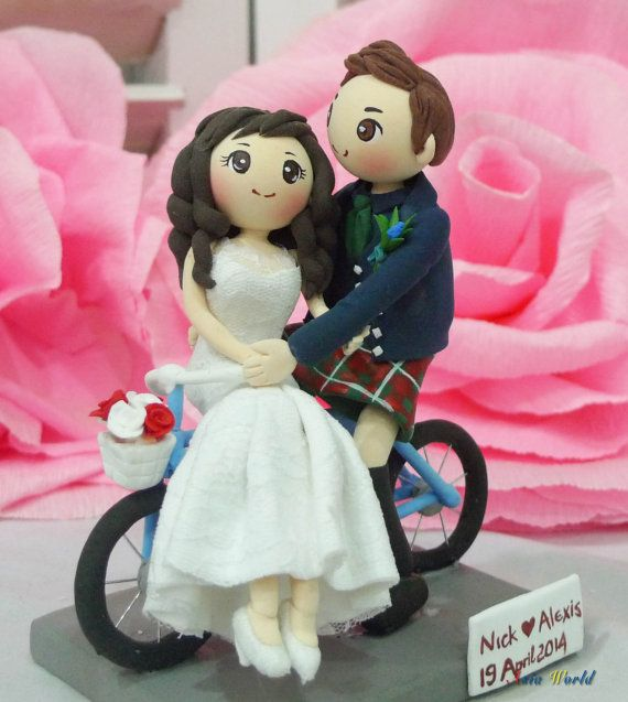 Bicycle wedding cake topper clay doll, bride in lace strapless wedding dress clay miniature, groom in kilt clay figurine, engagement decor