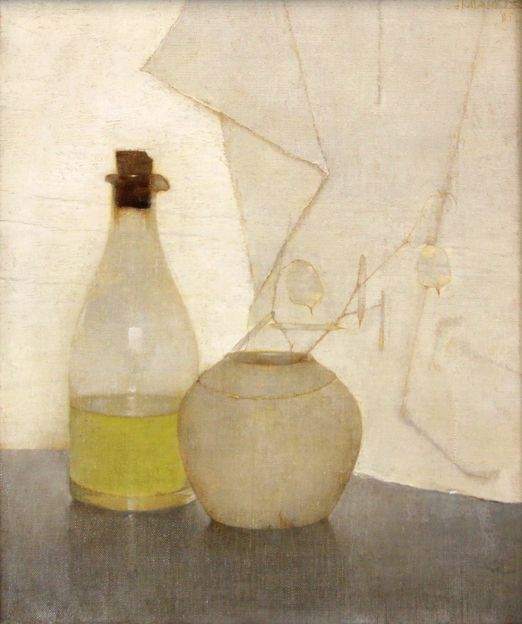 Jan Mankes (1889-1920), 'Olieflesje en judaspenning in gemberpot', 1912. Olieverf op doek op paneel