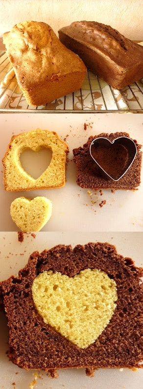 Bak twee cakes, een chocola  vanille, haal uit de plakjes cake een hartje met een uitsteekvormpje, doe het chocolade hartje in het vanille cakeje en andersom en je krijgt dit resultaat.