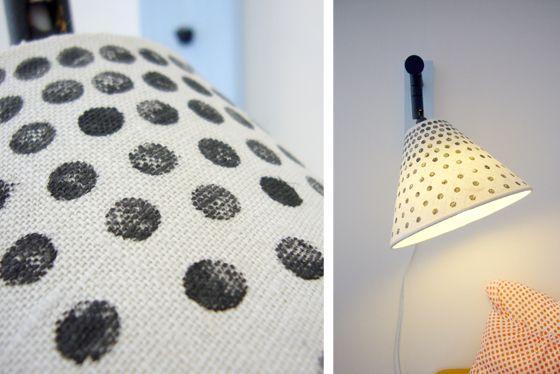Lamp re-make. Textilfärg + pennsudd.