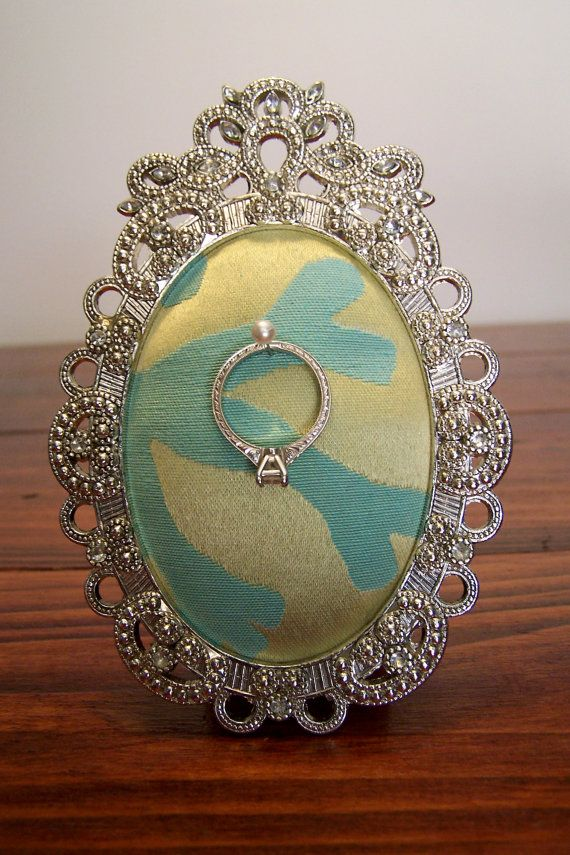 Ring Holder for Engagement or Wedding Ring: Light Green & Teal Coral Print