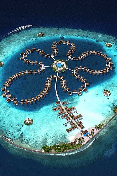 The Ocean Flower in the Maldives ~ feature 185 luxury villas placed in the shape of a classic Maldivian Flower from a aerial view.
