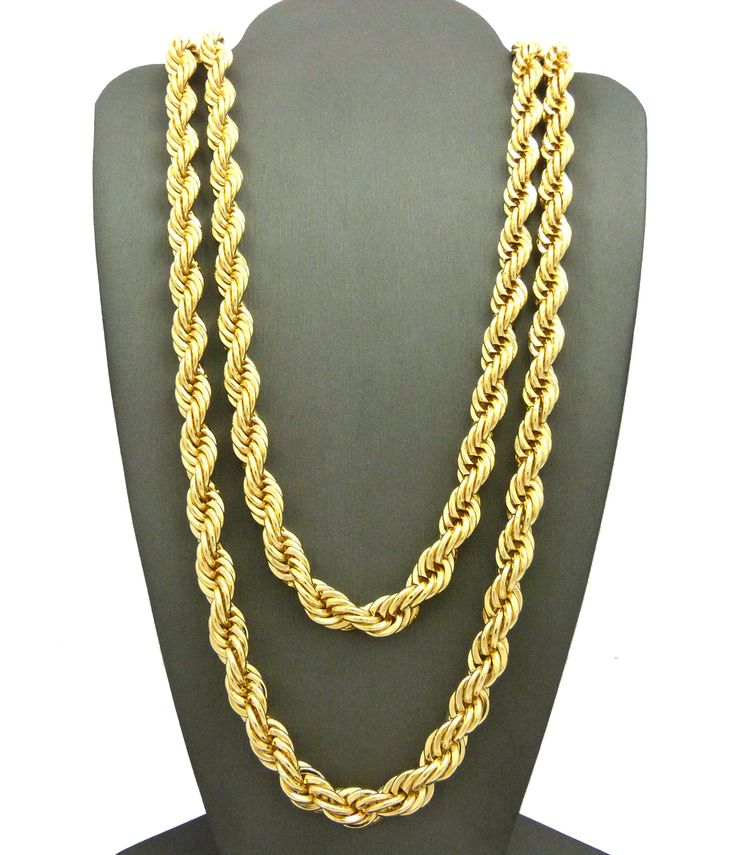 """Hip Hop 80' Unisex Rapper's 8mm 24"""", 30"""" Hollow Rope Chain Necklace in Gold, Silver Tone (Gold - 8mm 24"""" + 30"""" Rope Chain Set). Hip Hop 80' Unisex Rapper's 8mm 24"""", 30"""" Hollow Rope Chain Necklace in Gold, Silver Tone. Chain: 8mm 24"""", 30"""" Rope Chain. Imitation Gold, Silver Tone Plated. Fashion Costume Jewelry."""