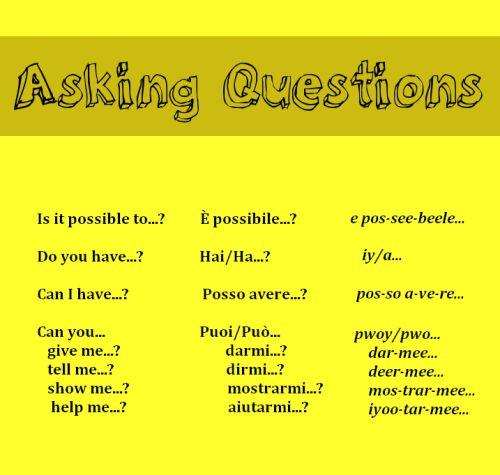 Asking questions in Italian from http://nativeitalian.tumblr.com