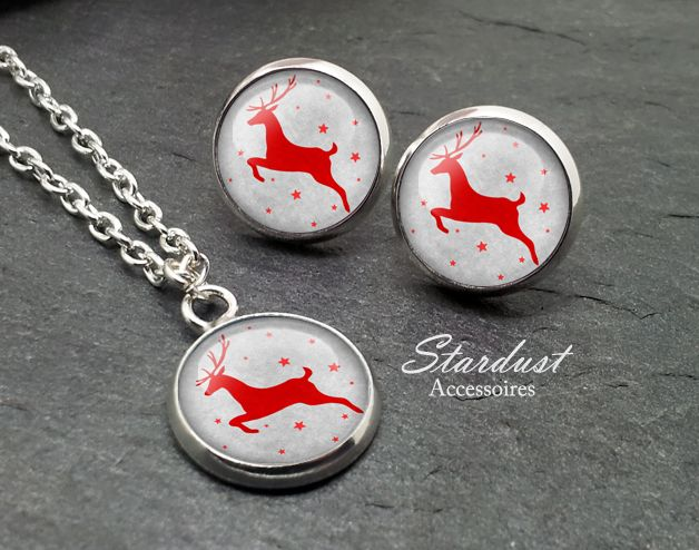 Schmuckset silber ❅ Rentier grau ❅ von Stardust Accessoires auf DaWanda.com