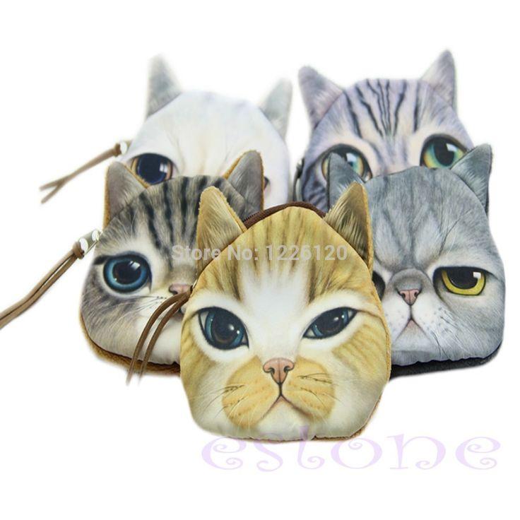 W110 доставка детская мини мило кот лицо молния чехол монета дети кошелек для макияжа сумка бесплатная доставкакупить в магазине co-co fashion storeнаAliExpress