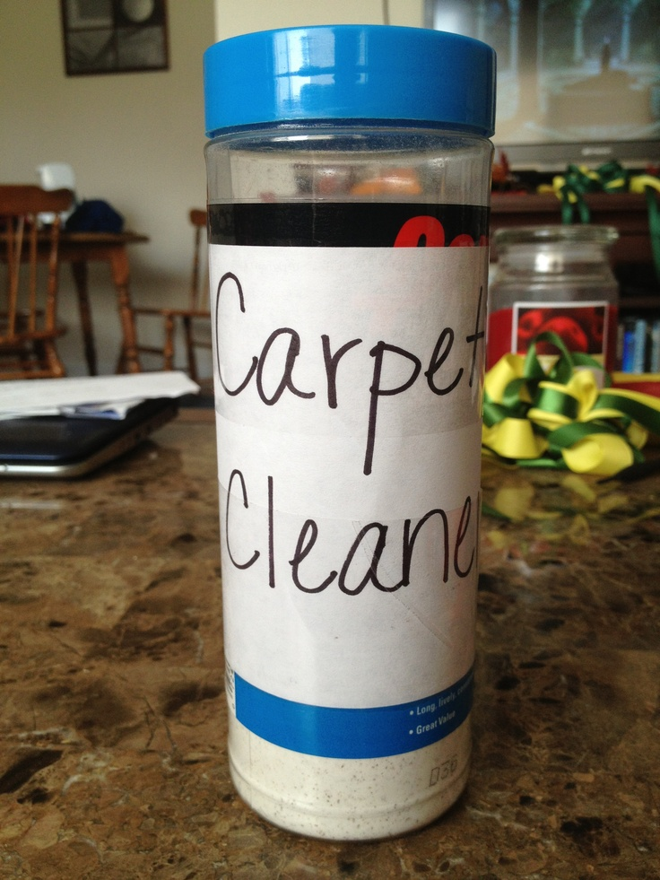 DIY Carpet Cleaner-1 cup borax, 1 cup baking soda, ~1 tablespoon ground cloves or nutmeg (I am going to try peppermint oil.  I hear it repels spiders, ants, etc. and should smell wonderful.)