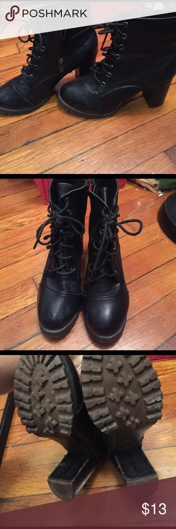 Chunky combat boot style heels Pre loved with life to spare! Super cute and sturdy! Great grip on bottoms! Worn last season only! Not Steve Madden bought at a boutique Steve Madden Shoes Combat & Moto Boots