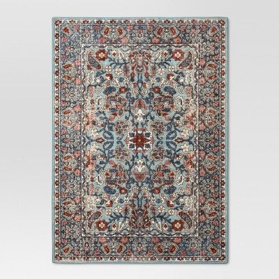 Ava Rug Blue Botanical Tufted Area 5 X7 Threshold