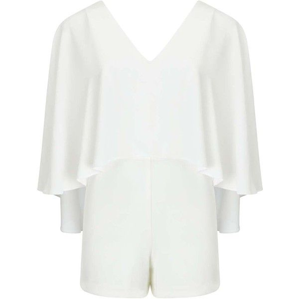 Miss Selfridge Cream Cape Playsuit ($80) ❤ liked on Polyvore featuring jumpsuits, rompers, cream, white rompers, miss selfridge, playsuit romper and white romper