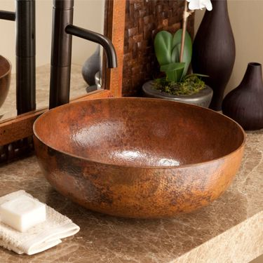 Maestro Round Vessel Bowl By Native Trails Made From Recycled Copper The Hammer Marks Copper Bathroom Sinkscopper