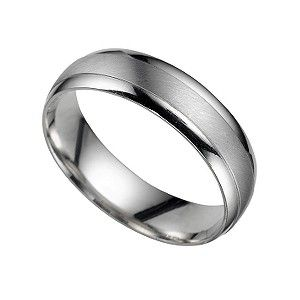A luxurious platinum court wedding band for him in a matt finish with polished edges. A sophisticated symbol of commitment which exudes everyday style.
