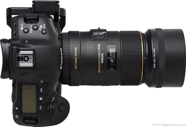Sigma 105mm f/2.8 EX DG OS HSM Macro Lens Top View with Hood.  For more images and information on camera gear please visit us at www.The-Digital-Picture.com