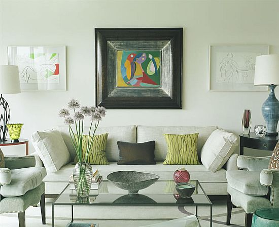 An example of a sophisticated eclectic living room A transitional