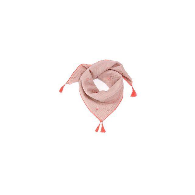 Foulard brodé à pompons  Chech Clouds Rose