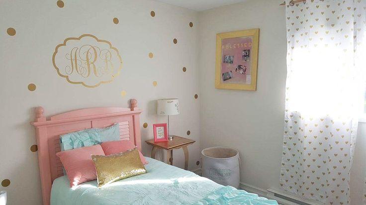 Gold and Coral Girls Room Decor  DIY polka dots diy toddler bedroom