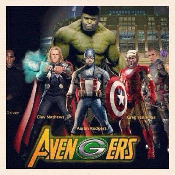 AvenGers!!  Donald Driver (Nick Fury), Clay Matthews (Thor), Aaron Rodgers (Capt. America), Greg Jennings (Iron Man), Jordy Nelson (Hawkey), and BJ Raji (Hulk)